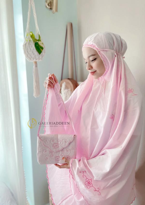 telekung travel cotton blush pink Galeri Addeen