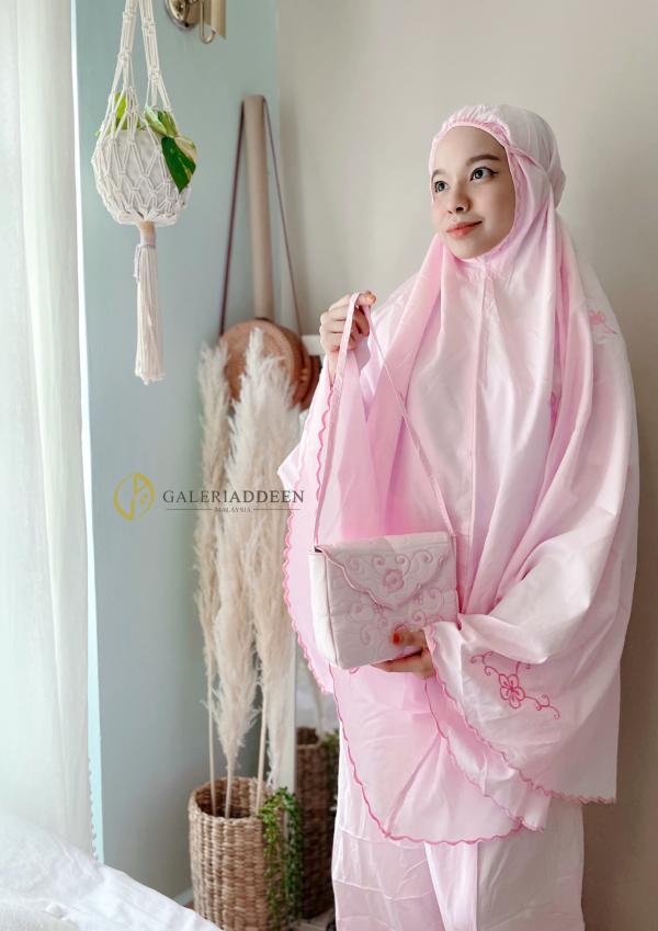 telekung travel cotton soft pink Galeri Addeen