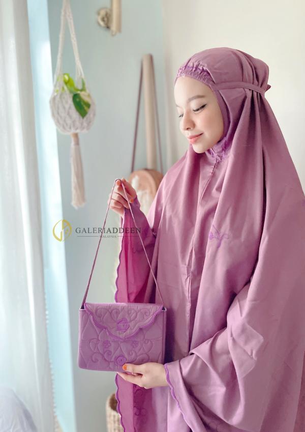 telekung travel cotton ungu Galeri Addeen