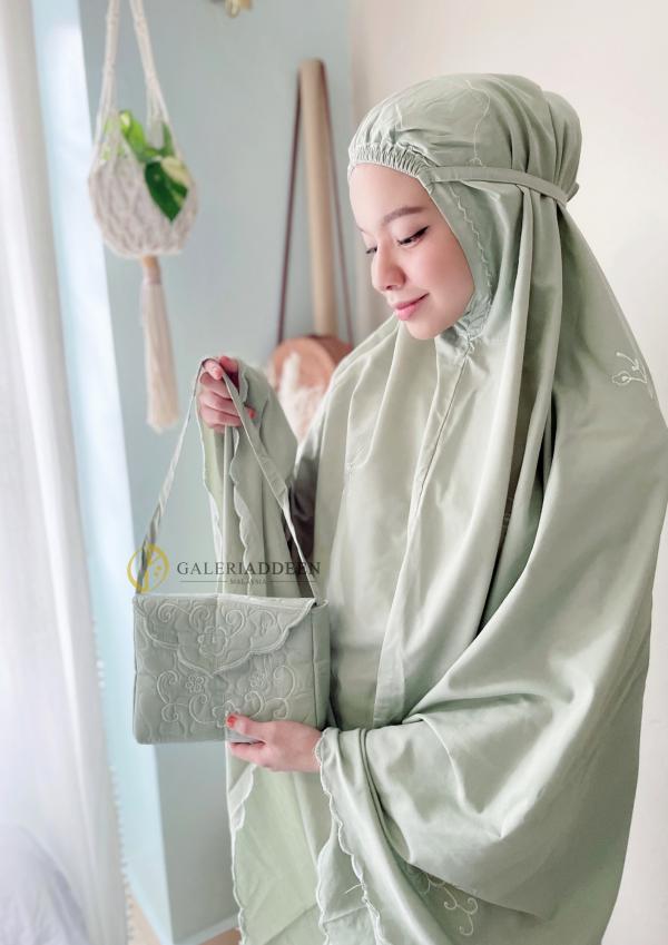 telekung travel cotton matcha green Galeri Addeen