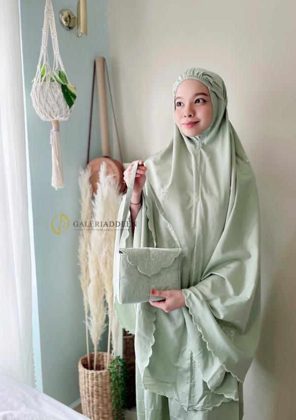 telekung travel cotton green Galeri Addeen