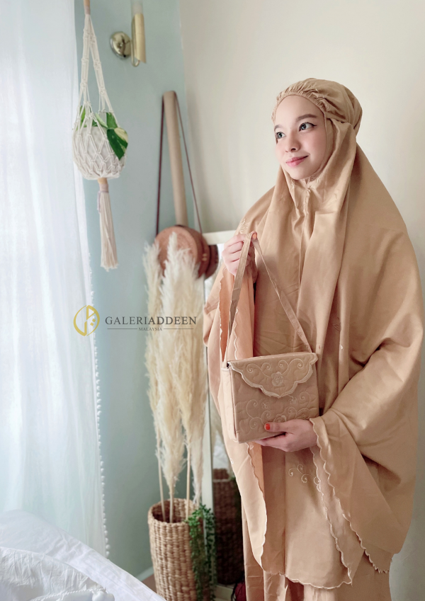 telekung travel cotton almond brown Galeri Addeen