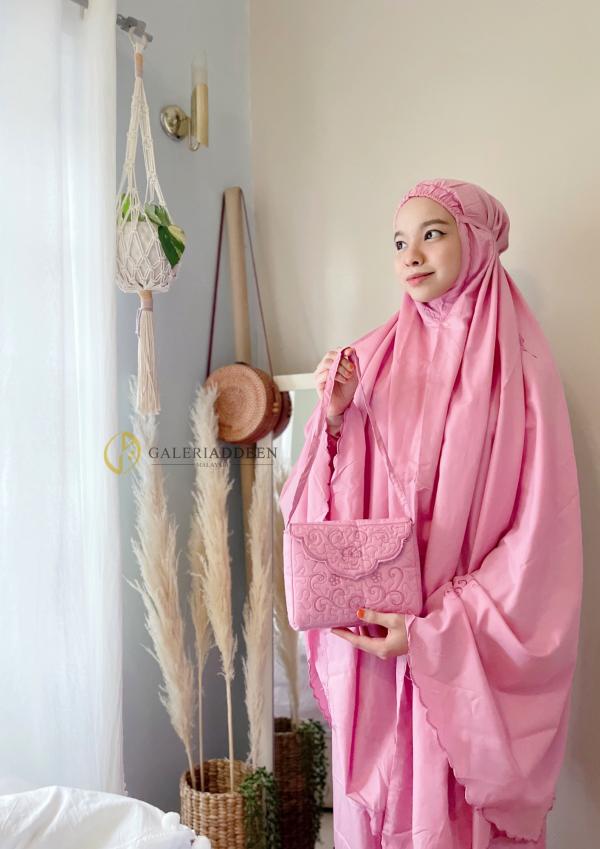 telekung travel cotton pink tearing Galeri Addeen