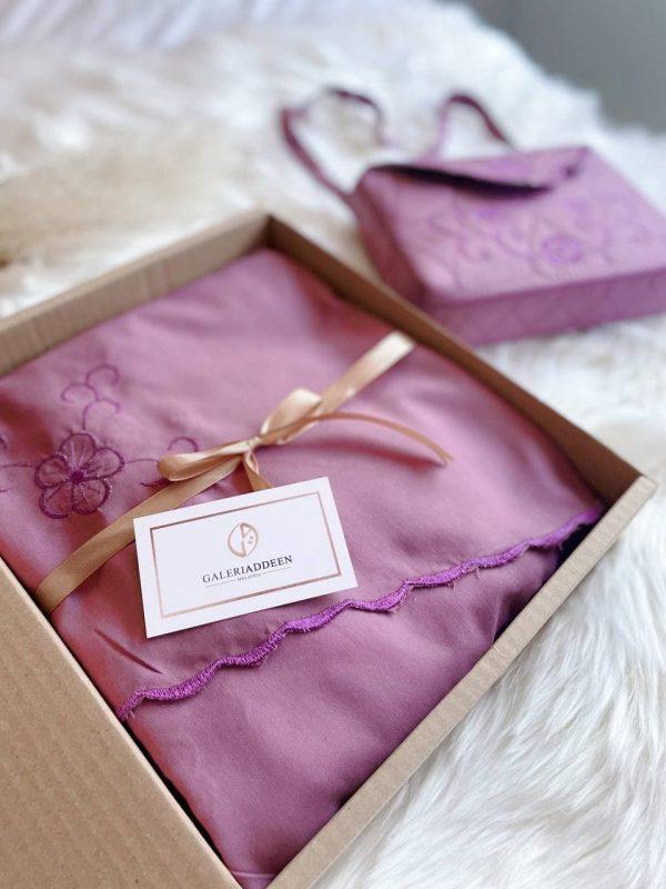telekung bag kalsom in plum purple galeriaddeen