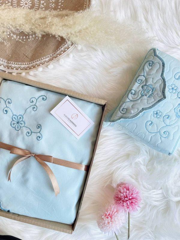 telekung cotton kalsom_light blue