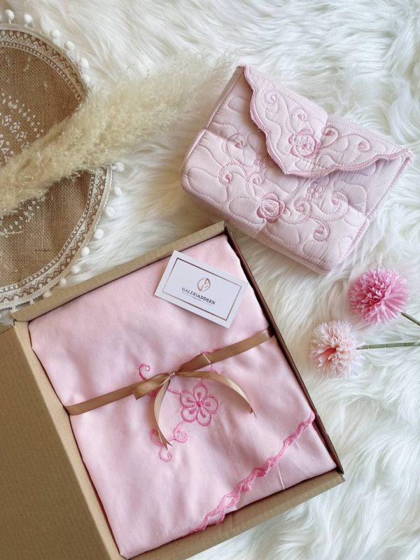 telekung sulam kalsam blush pink