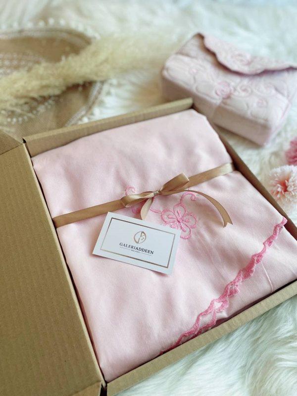 telekung cotton travel Galeri Addeen blush pink